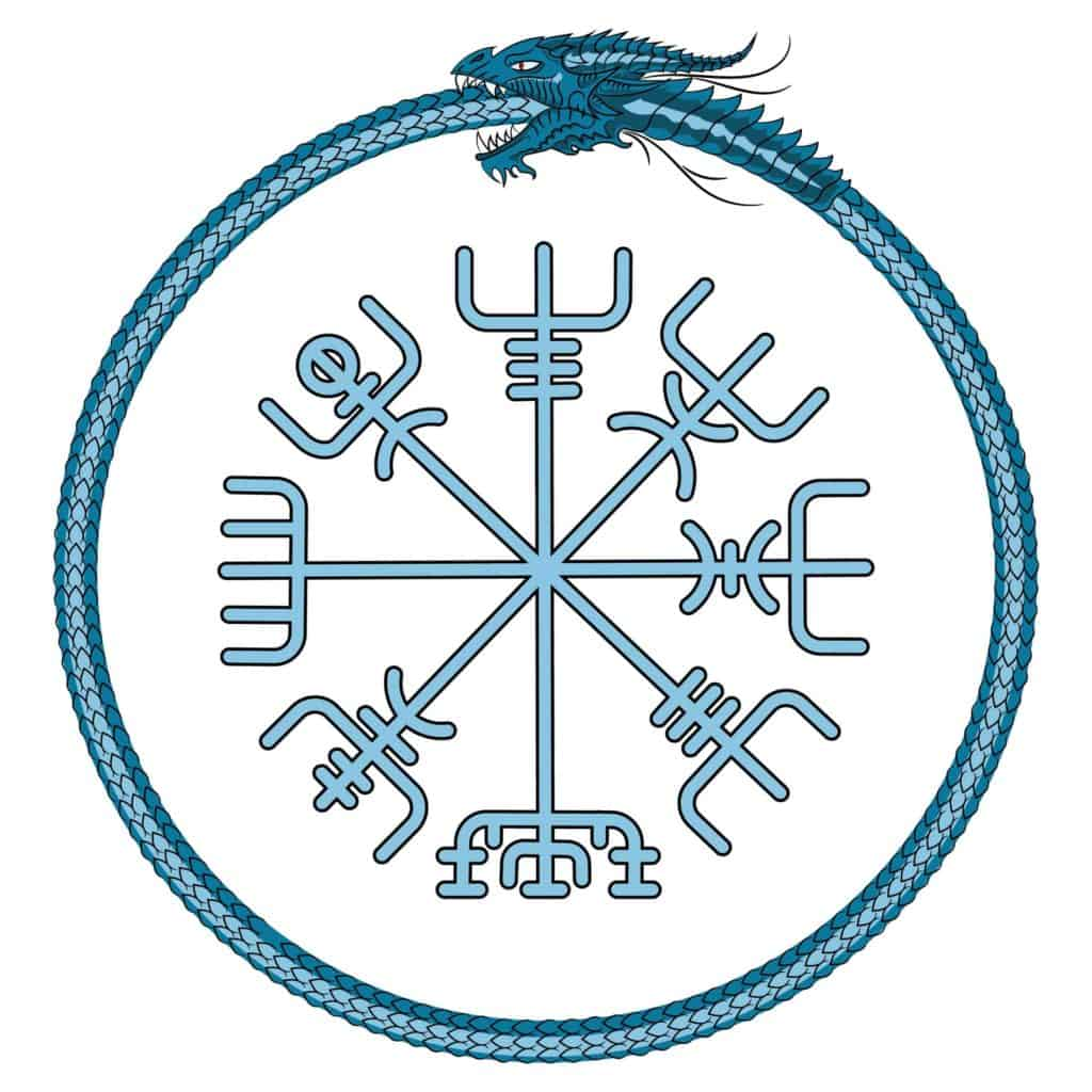Vegvisir , The Norse Compass with Jormungandr