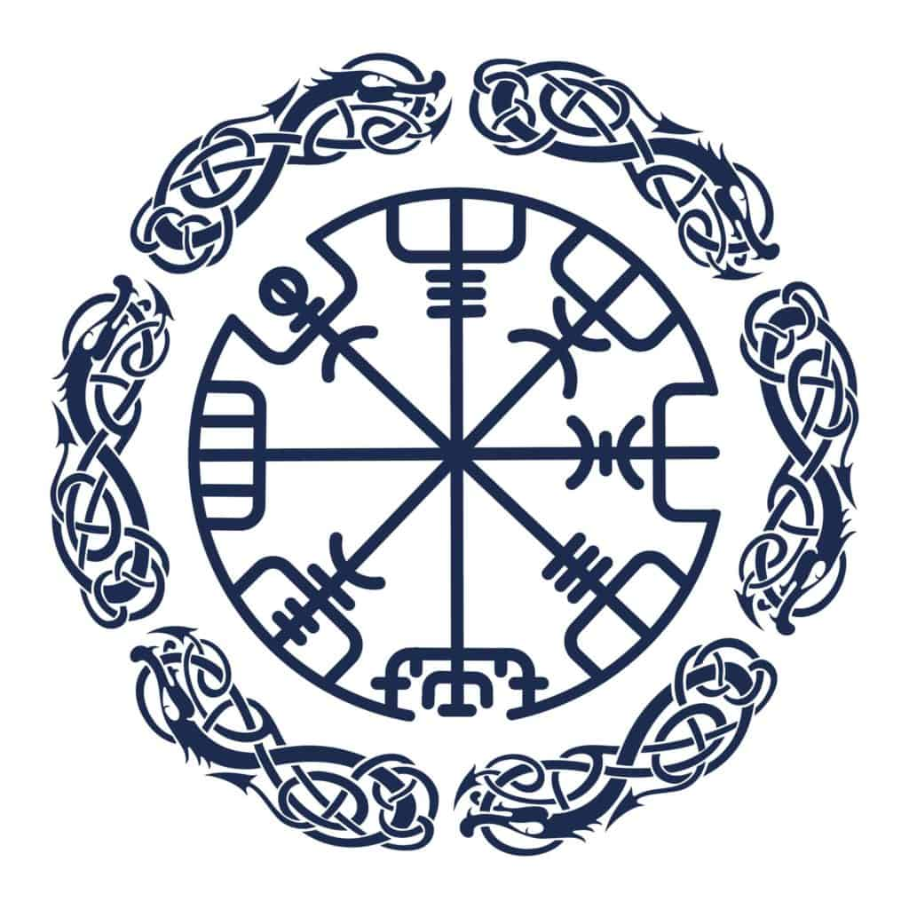Vegvisir the Runic Viking Compass Ornamented with Dragon Figures