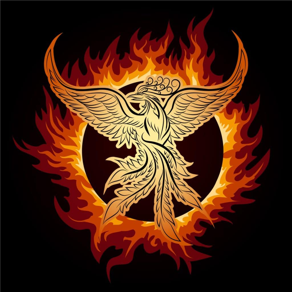 Phoenix bird as part of symbols of rebirth and reincarnation collection
