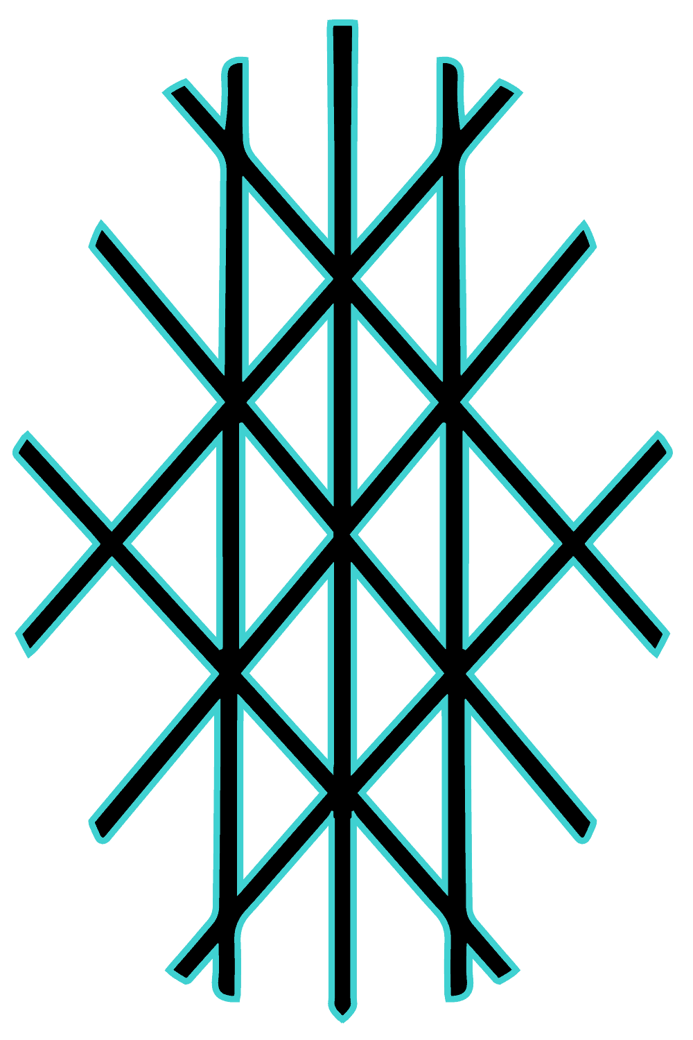 Web of Wyrd Symbol Meaning and History Explained, Black and Brilliant Blue Colors Design