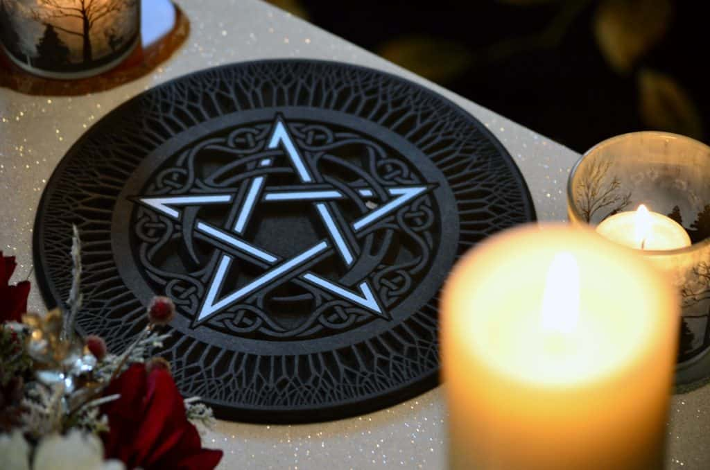 Wiccan Pentacle Meaning and Definition Explained, A Pentacle with Candles