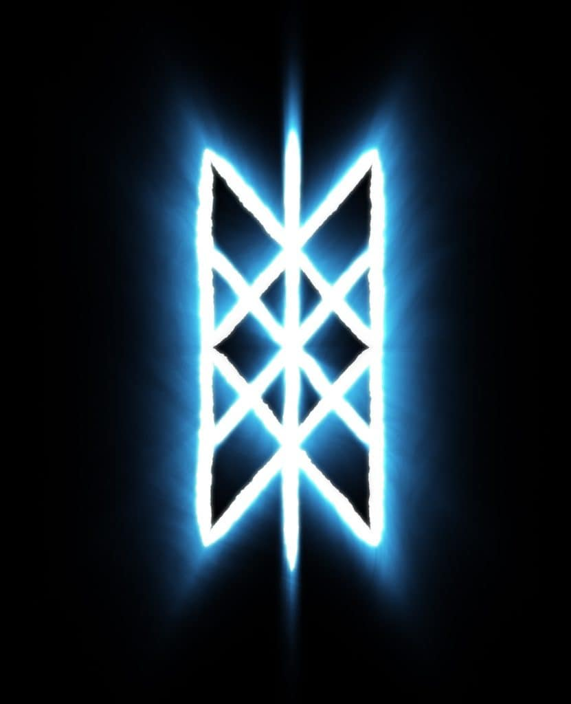 Web of Wyrd Meaning, Origin and Symbolism, The Symbol in Blue and White