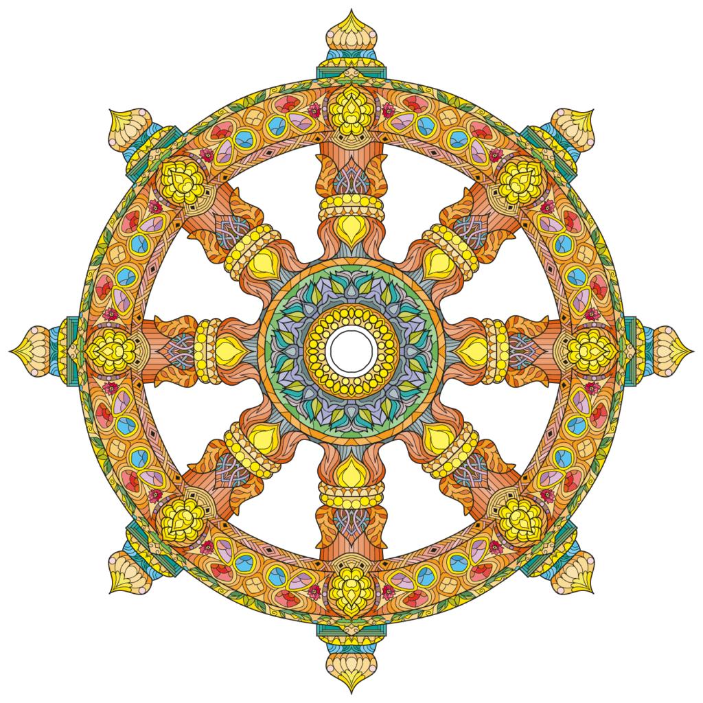 Dharma Wheel, One of the Eight Auspicious Symbols of Buddhism