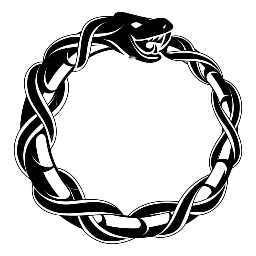 Ouroboros Snake Eating Its Own Tail