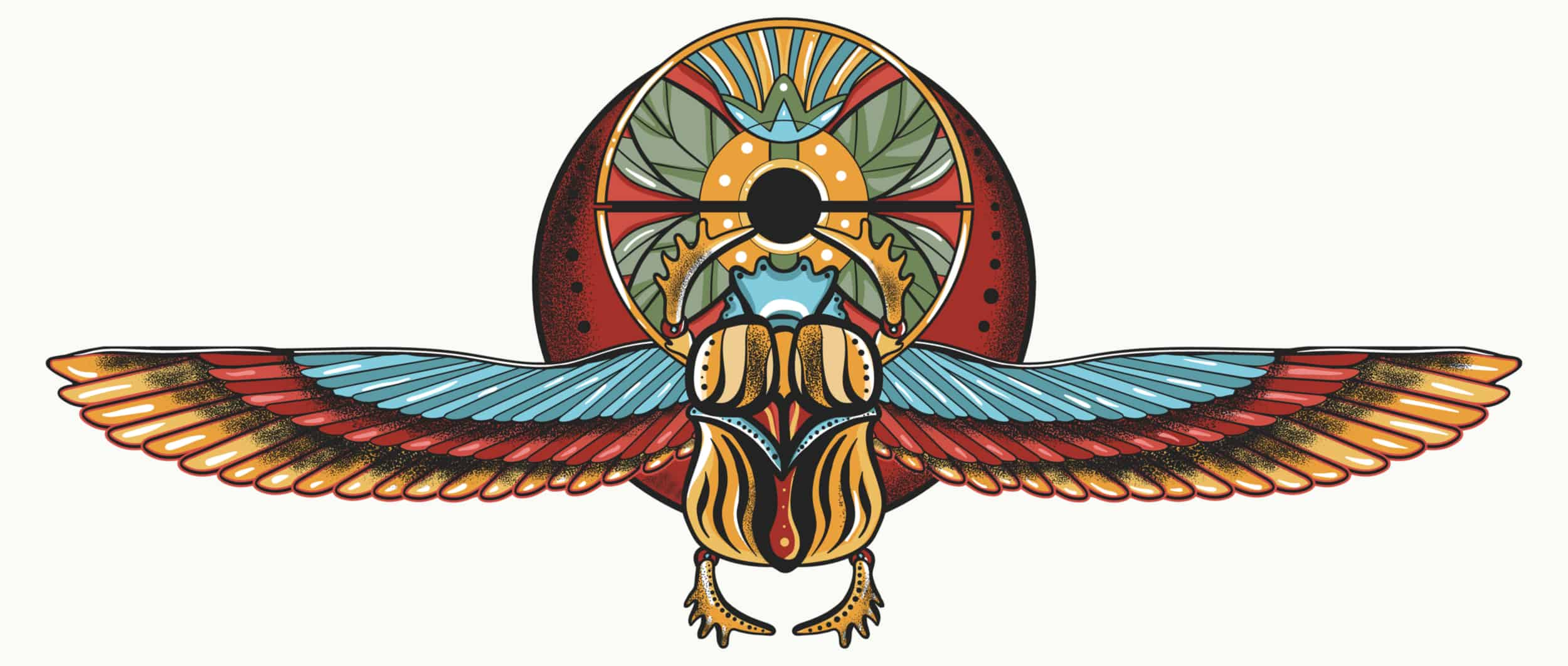 Scarab Beetle with Imaginary Wings, One of the Most Important Symbols of Rebirth, Renewal and Resurrection