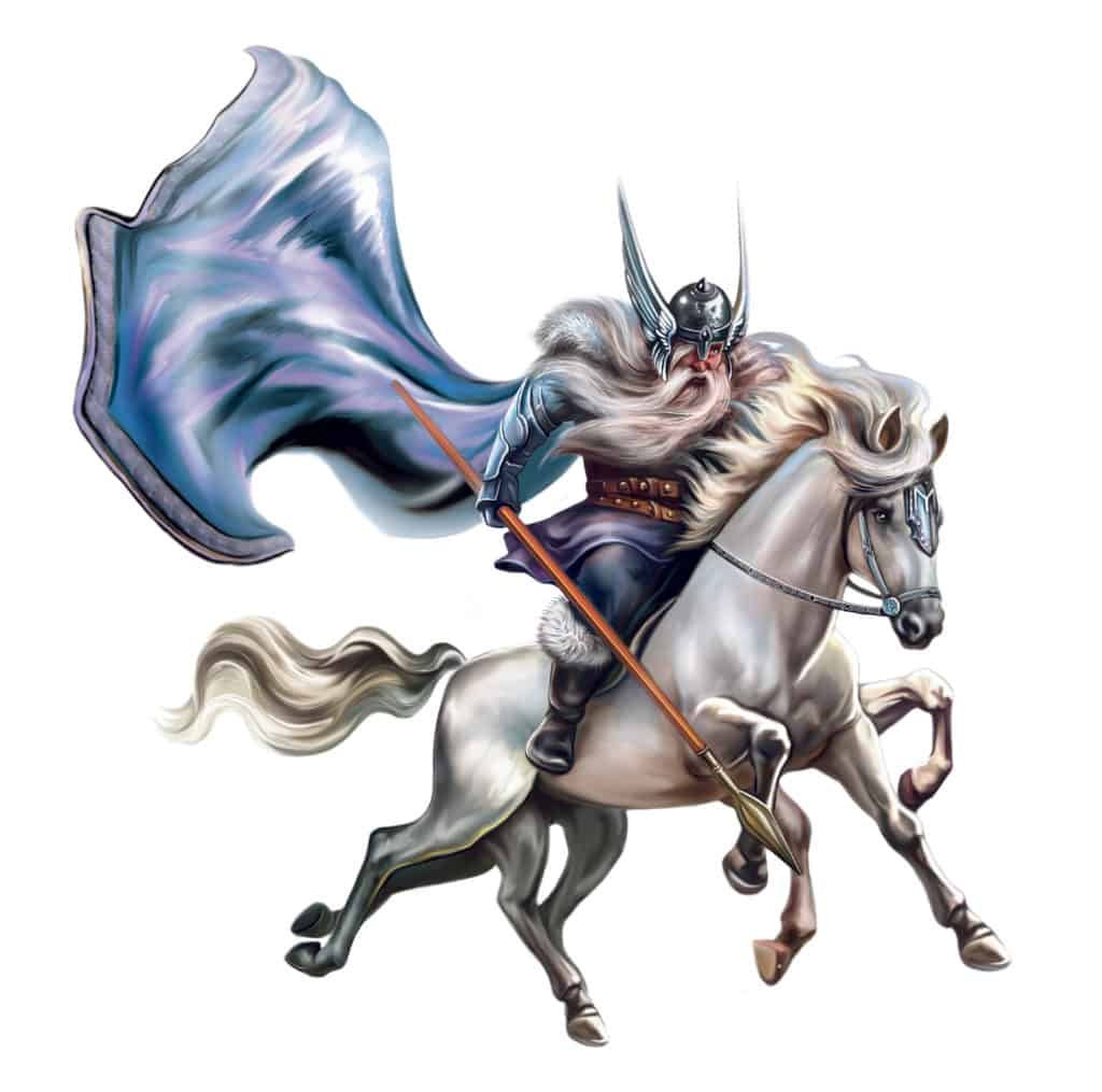 Odin riding his eight-legged horse which happens to be one of the most famous Odin symbols