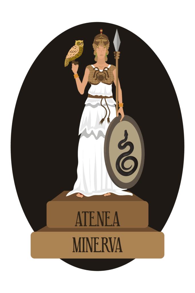 Athena Sacred Animal Athena Sacred Plant, Athena Illustration with Owl