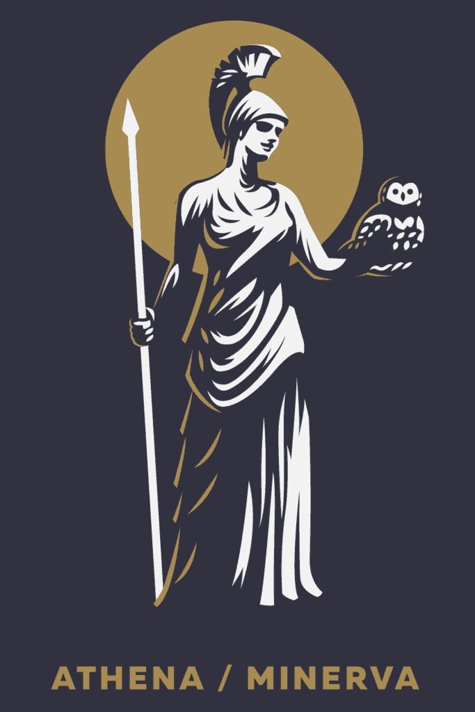 Athena Symbols, Symbols of Knowledge, the Goddess of Wisdom and Knowledge with an Owl