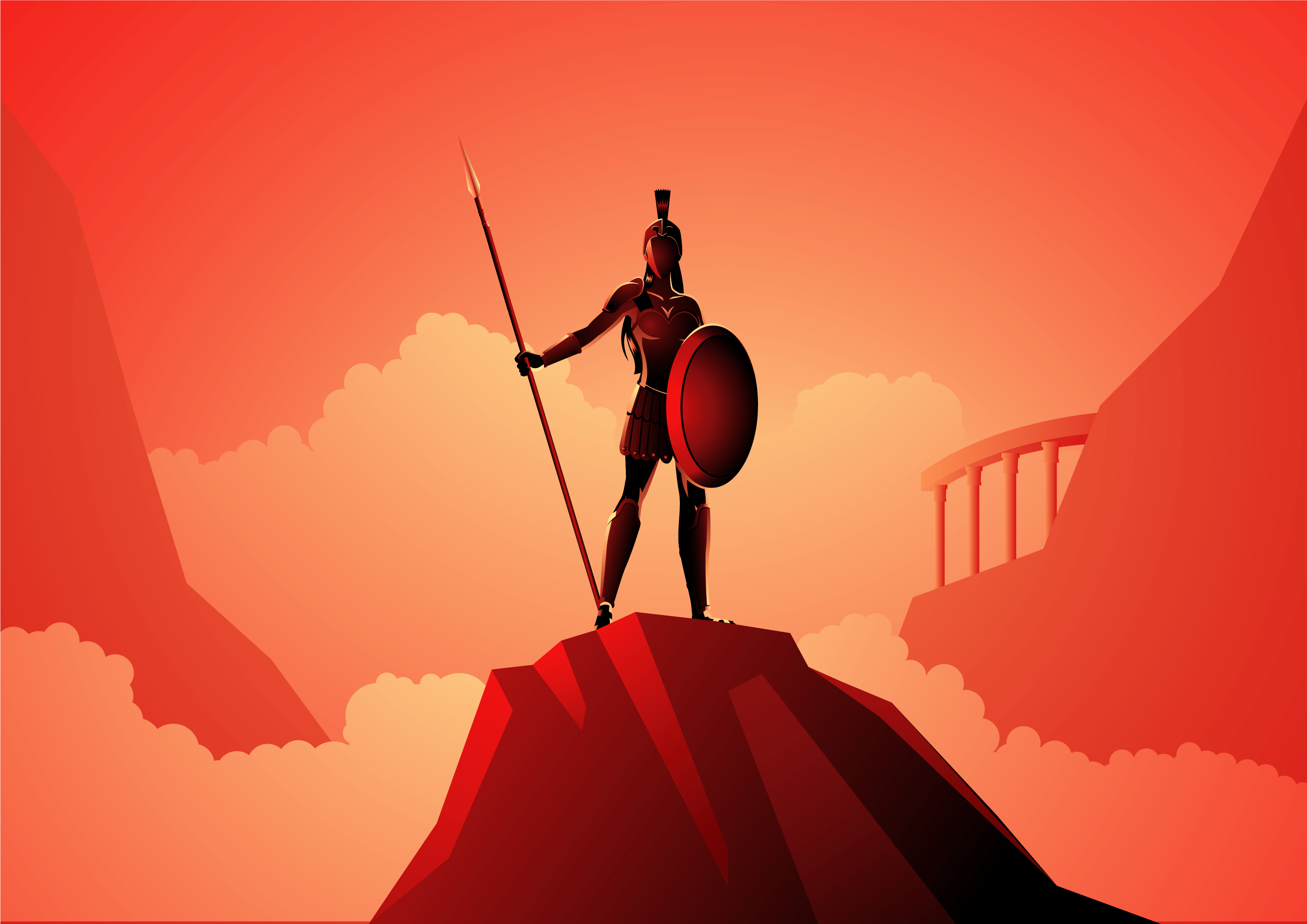 Athena the Greek Goddess of Civilization War and Wisdom Depicted on Top of a Hill