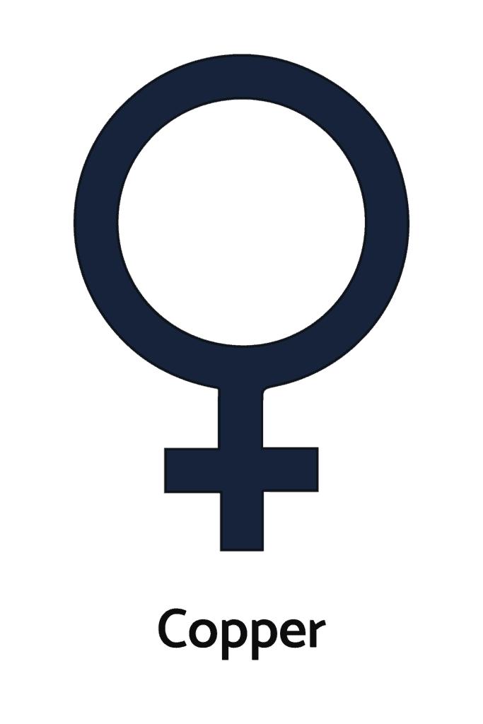 Copper and Planet Venus Alchemical Symbol