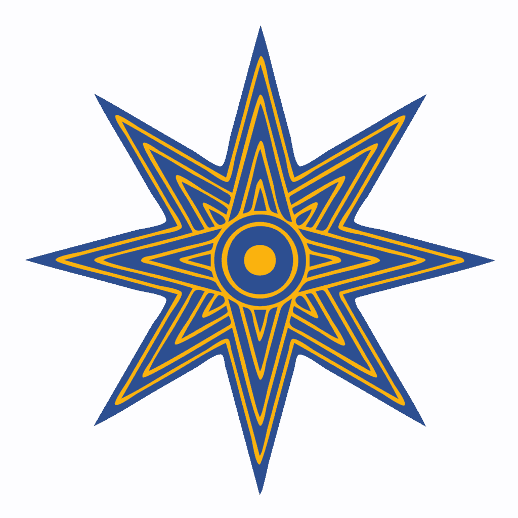 Eight Point Star Symbol in Blue and Yellow