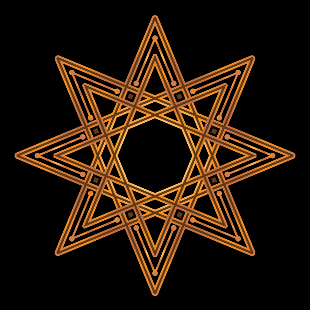 8-pointed Star in Gold on a Black Background