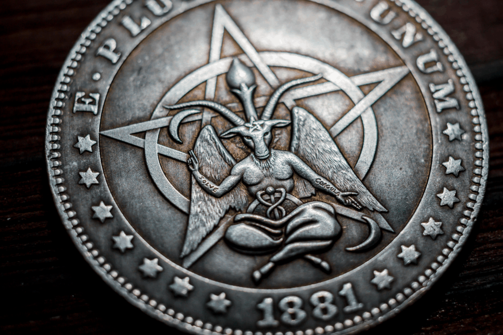 Ancient Demon and God Baphomet Imagery on a Coin