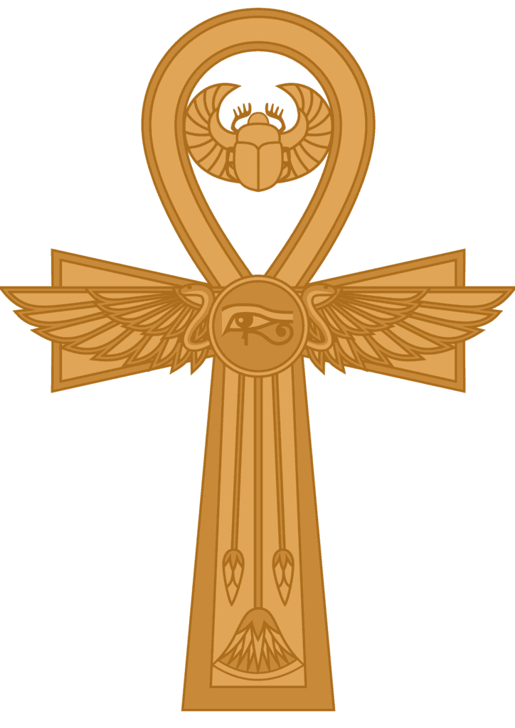 Ankh with Scarab and Eye of Horus on It