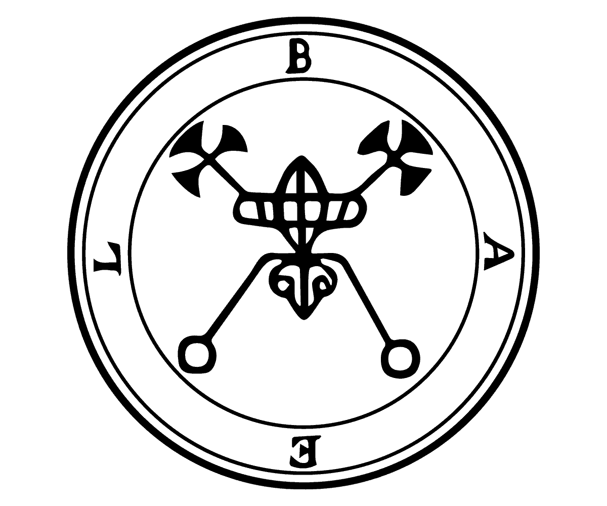 the Seal of Bael the Demon King in Black and White