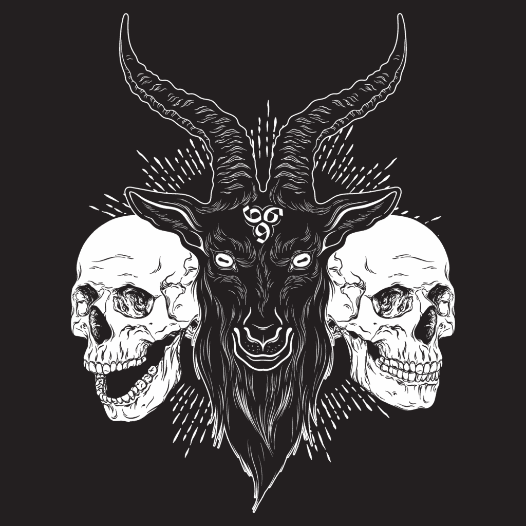 Baphomet the Demon with Skulls and 666 Satan's Number