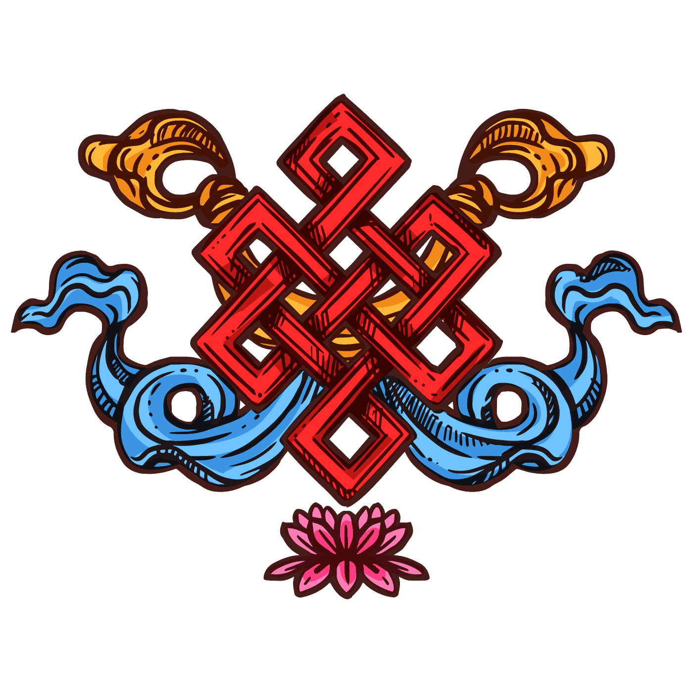 The Endless Knot, Eight Auspicious Symbols of Buddhism Collection