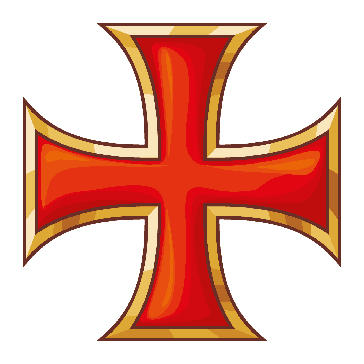 A Maltese Cross in Red And Yellow Colors, Fire Department Symbol's Inspiration