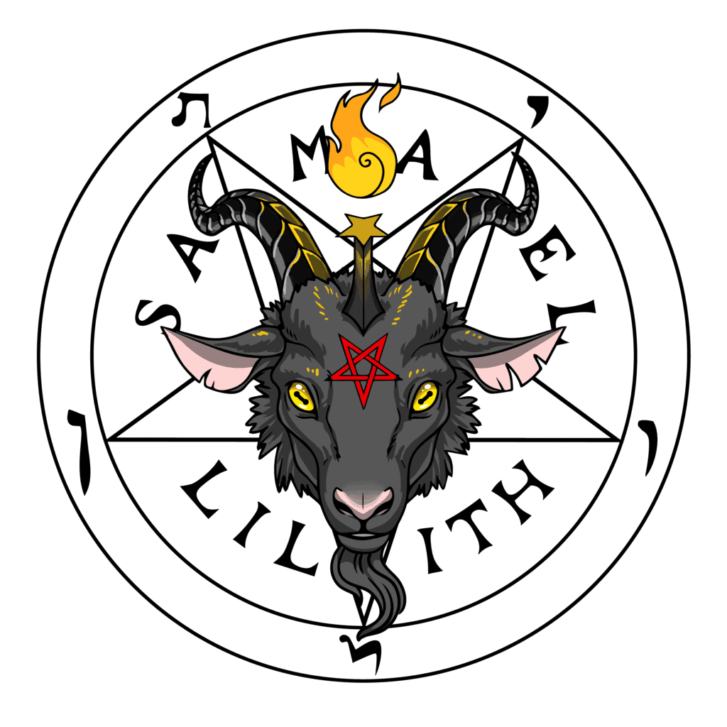 Sigil of Baphomet with Samael and Lilith Text, Symbols of Satan Collection