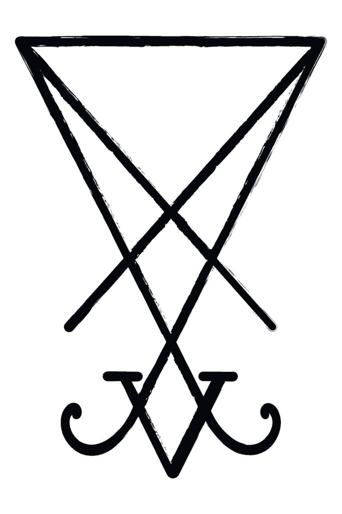 Sigil of Lucifer also known as Seal of Satan depicted in black on white