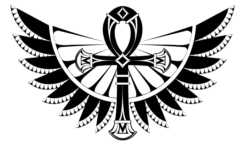 Ankh, the Handled Cross with a Circle on Top in Black and White