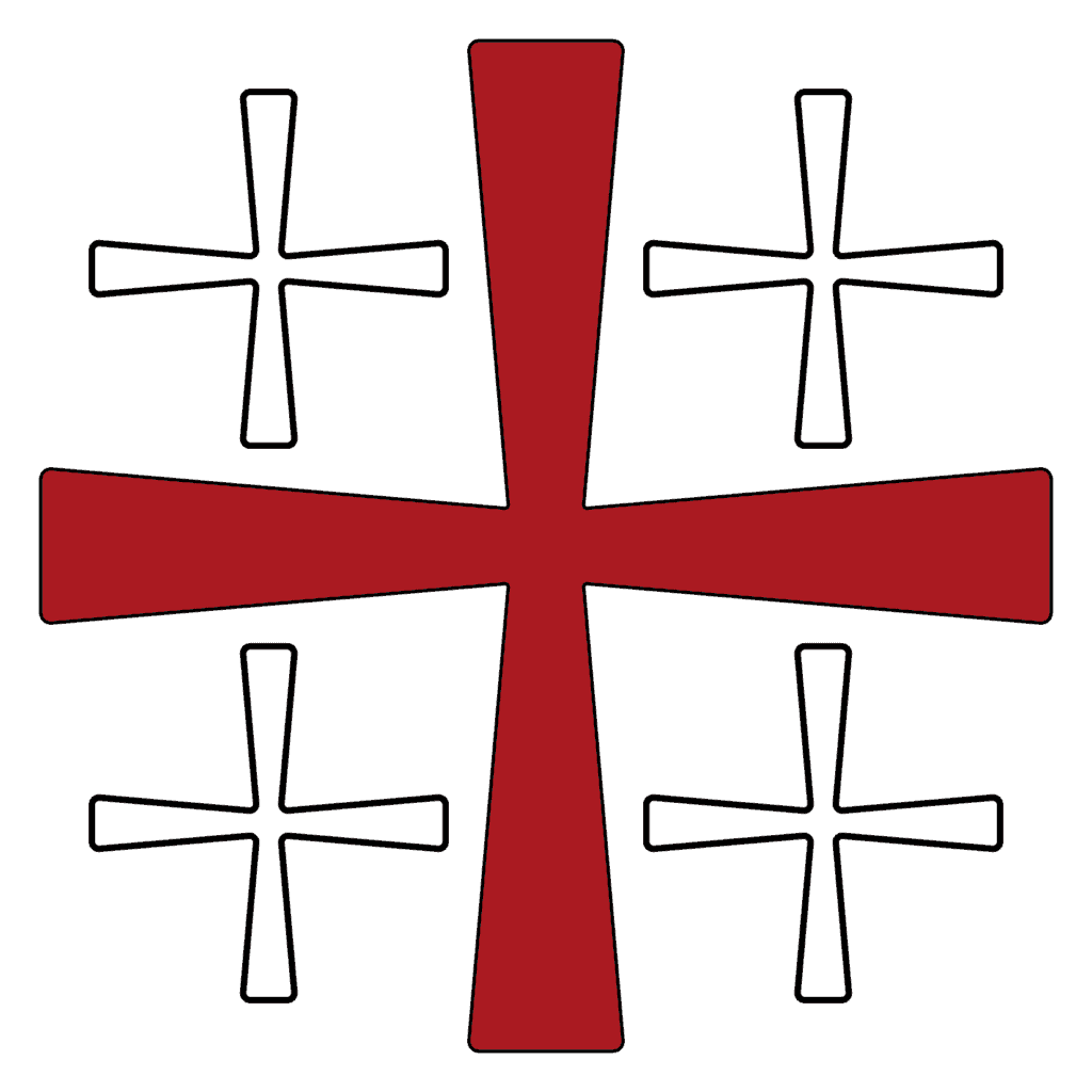 Crusader Cross in Red Black and White