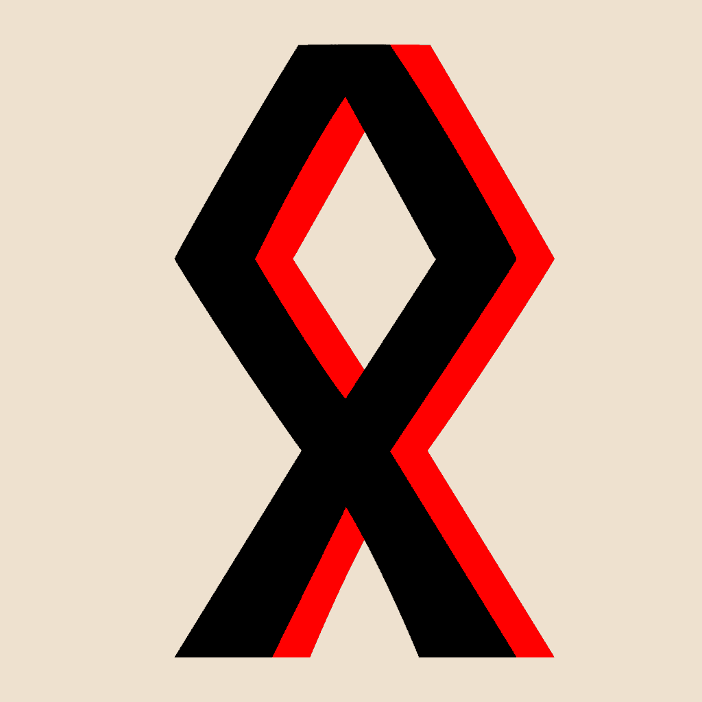 Odala Also Known as Othala Rune Symbol in Black and Red