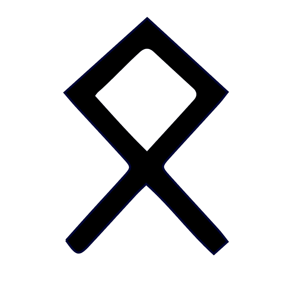 Odal Runic Symbol in Black and White