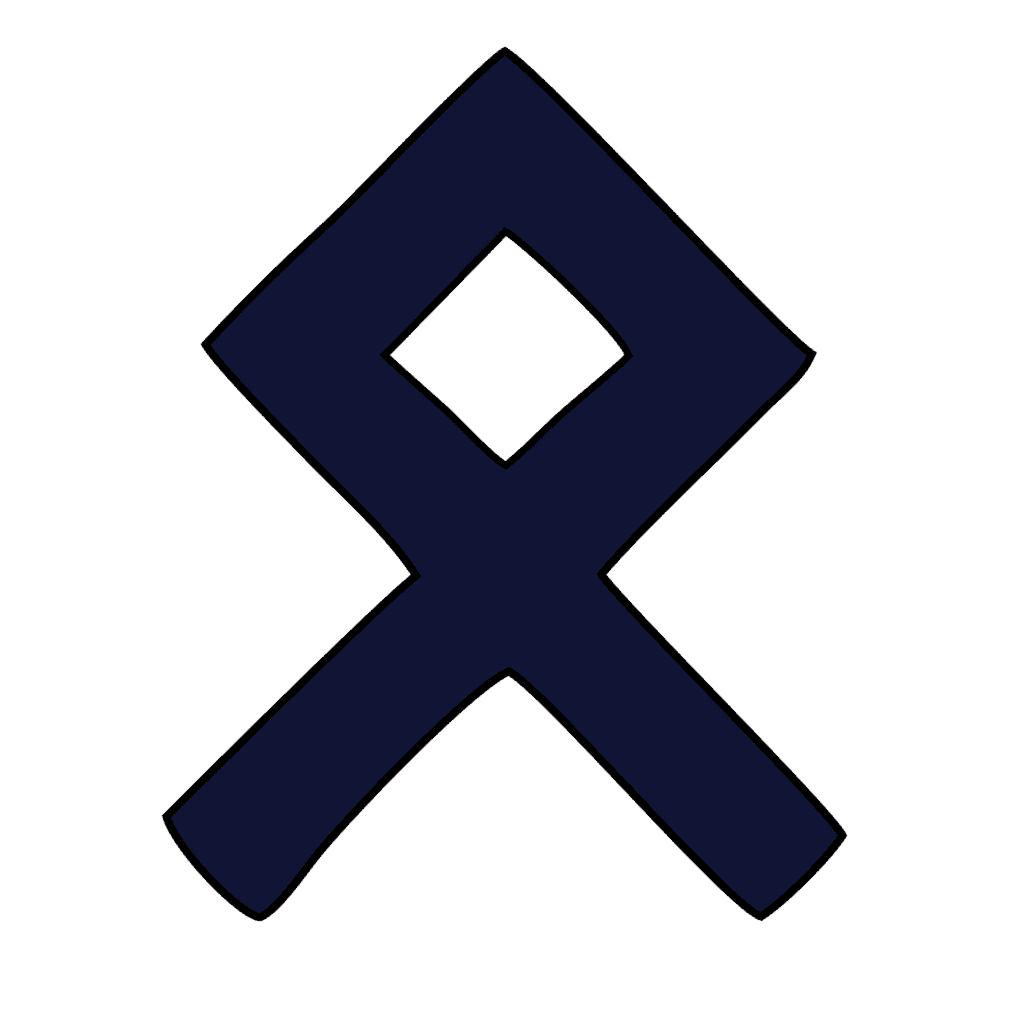 Othala Rune Symbol, Odal Rune in Blue and Black