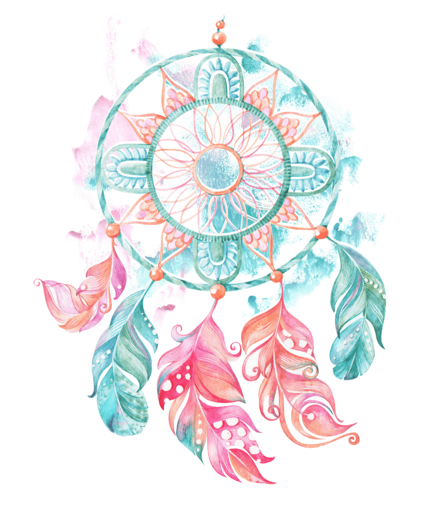 A Dreamcatcher in Light Blue Pink and Orange Colors