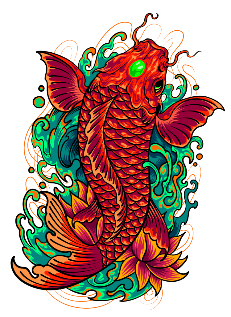 Koi Fish Symbolism and Meaning, What Do Koi Fish Represent - A Koi Fish Illustration