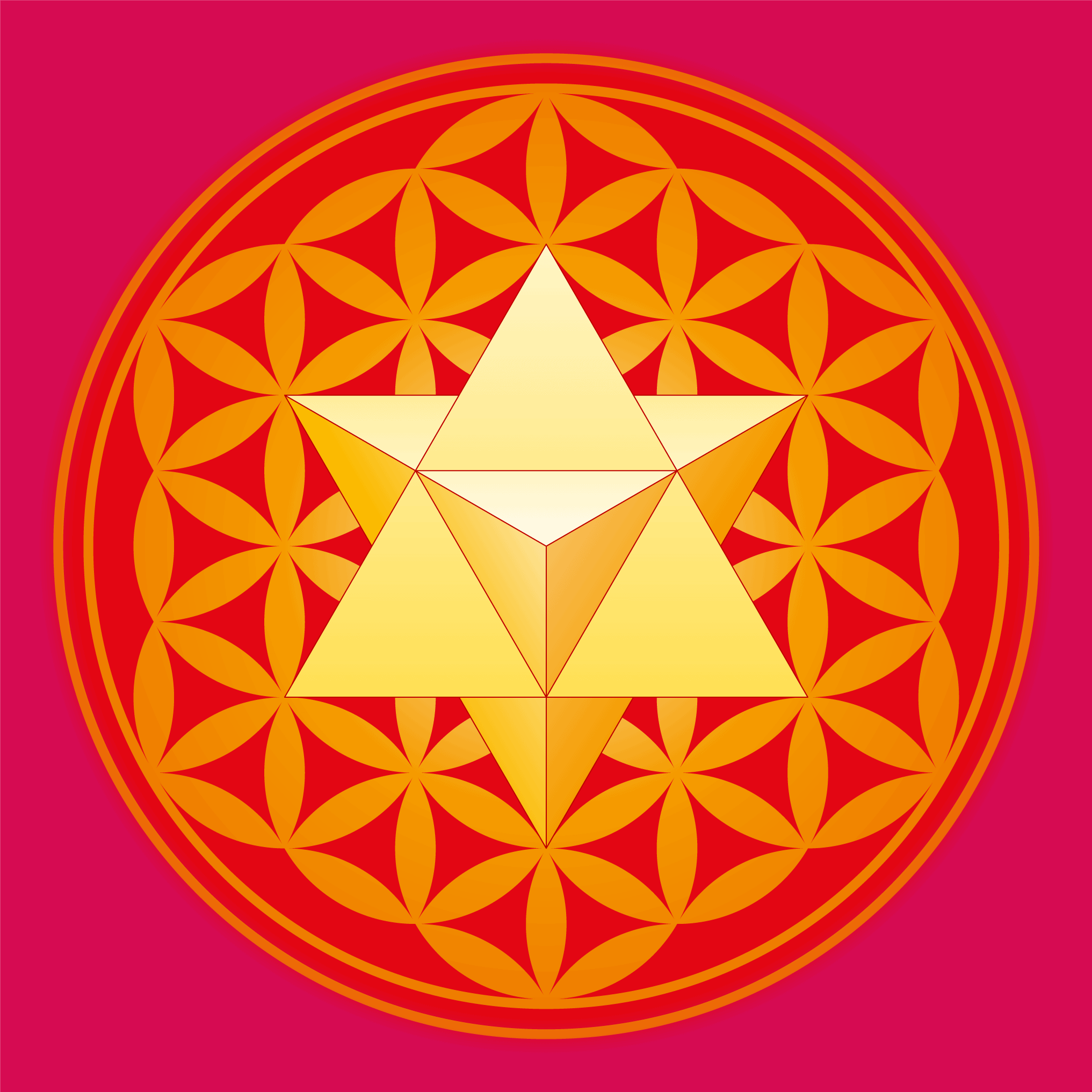 Merkaba Star in front of the Flower of Life Symbol, Two Sacred Geometry Symbols