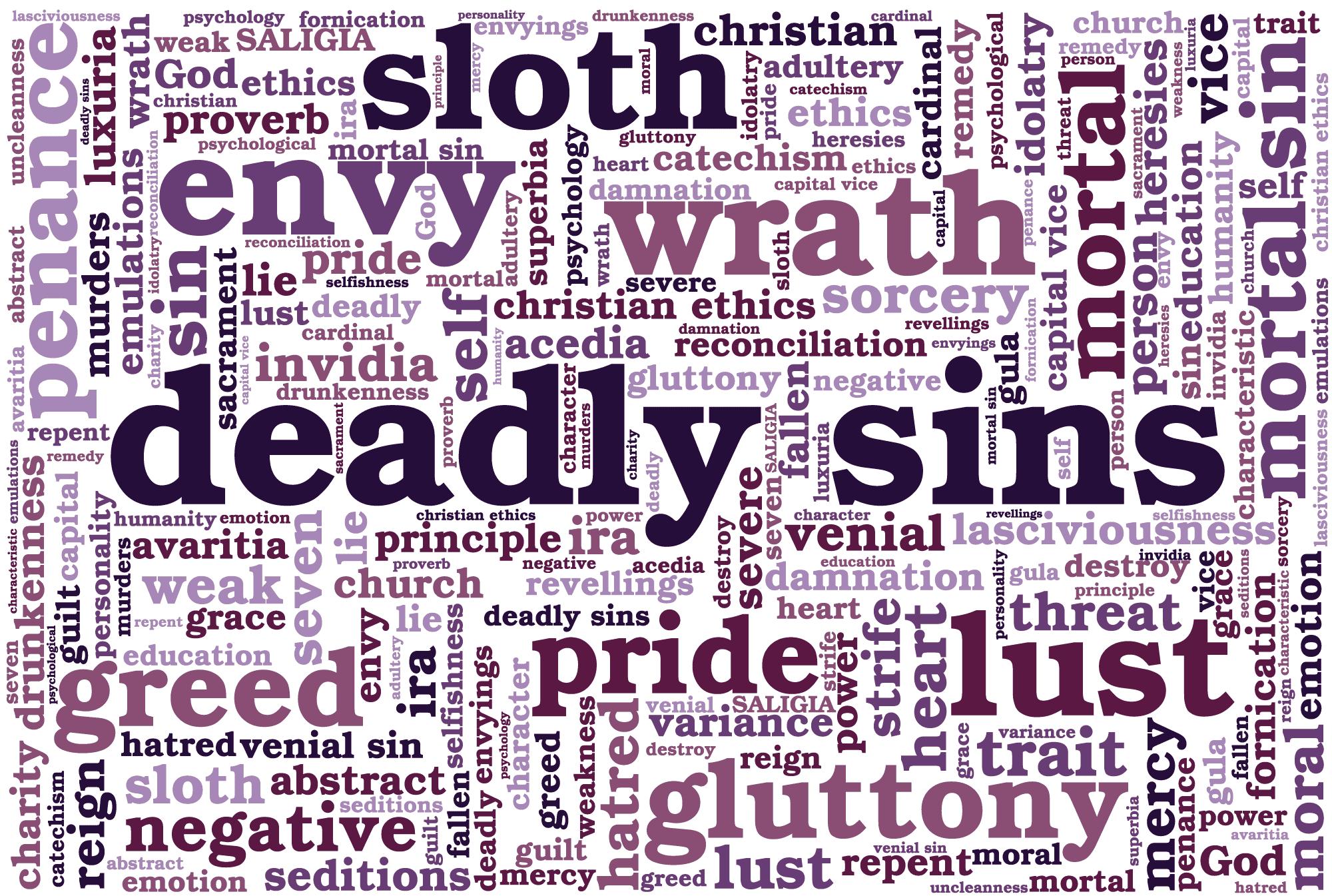 Seven Deadly Sins Symbols List, A Word Cloud for Seven Cardinal Sins