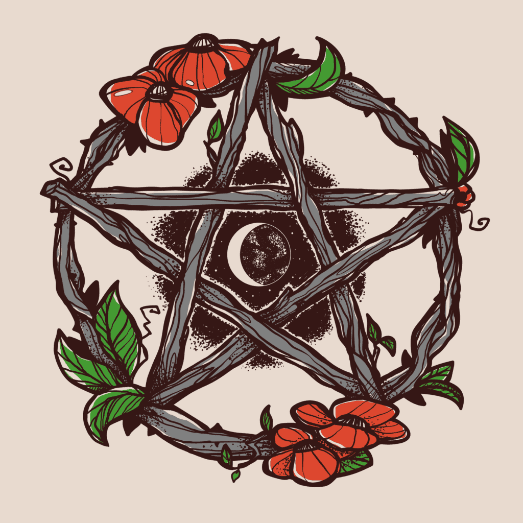 Wiccan Pentacle in Warm Colors, a Protection Symbol