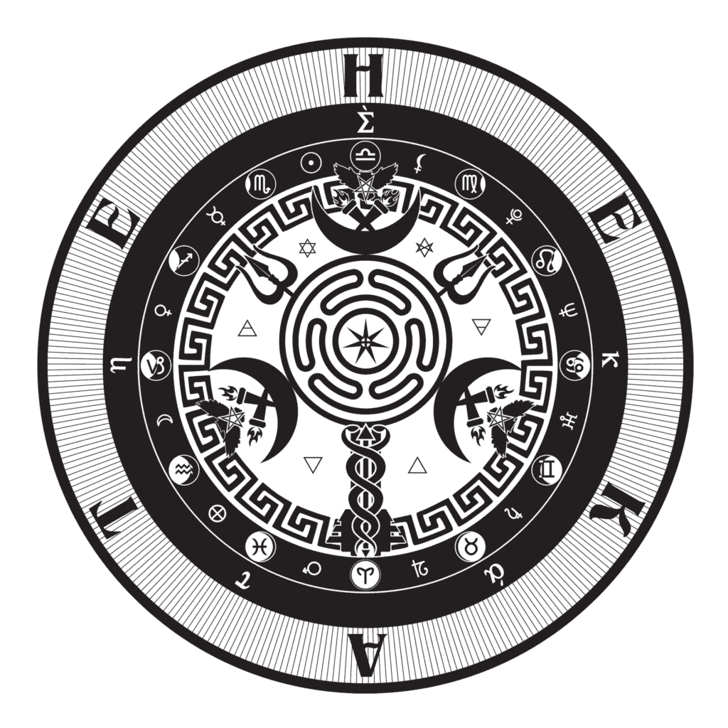 Hecate's Wheel Symbol in the Sigil of the Goddess of Magic and Witchcraft in Greek Mythology